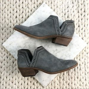 Vince Camuto Grey Suede Cutout Ankle Booties